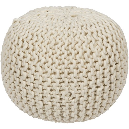 "Surya POUF-78 Hand Made 100% Wool Desert Sand 18"" x 18"" x 12"" Pouf"