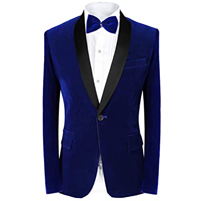 MAGE MALE Men's 2 Piece Suit Peaked Lapel One Button Tuxedo Slim Fit Velvet Blazer Party Dinner Jacket & Pants at Men's Clothing store