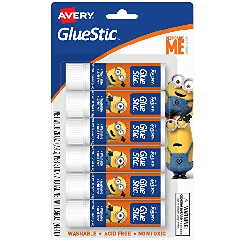 Avery Despicable Me Glue STIC, Washable, Nontoxic, Permanent Adhesive, 0.26oz, 6 Glue Sticks (00146)