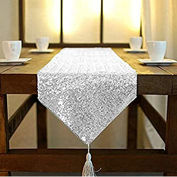 San Tungus Modern Ornate Beaded Sequined Rhinestone Table Runner with Tassel for Dining Party,13x72 Inches,Champagne