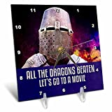 3dRose Alexis Design - Funny Knight - Medieval Knight - All the dragons beaten, let us go to a movie - 6x6 Desk Clock (dc_270659_1)