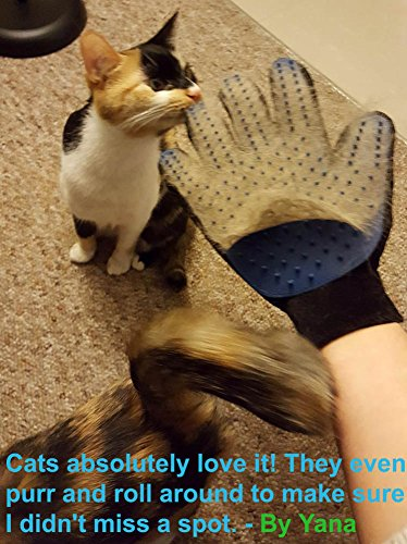 Large Product Image of [Upgrade Version] Pet Grooming Glove - Gentle Deshedding Brush Glove - Efficient Pet Hair Remover Mitt - Enhanced Five Finger Design - Perfect for Dog & Cat with Long & Short Fur - 1 Pair (BLUE)