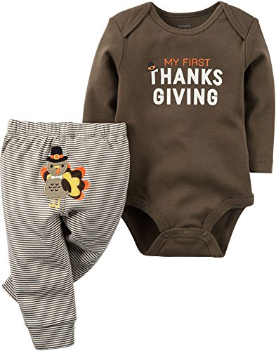 Carter's Unisex Baby 2 Pc Sets, Brown, 6 Months (Thanksgiving Outfit For Baby Boy)