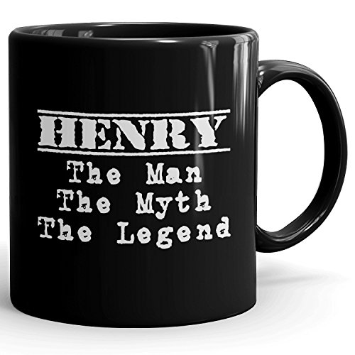 MugMax The Man the Myth the Legend D1 Ceramic Coffee Mug Personlized Henry Black 11 oz