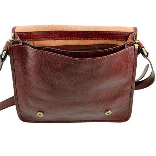 81412884 - TUSCANY LEATHER: POSTMAN - Messenger Porte ordinateur Sacoche facteur en cuir, marron foncé