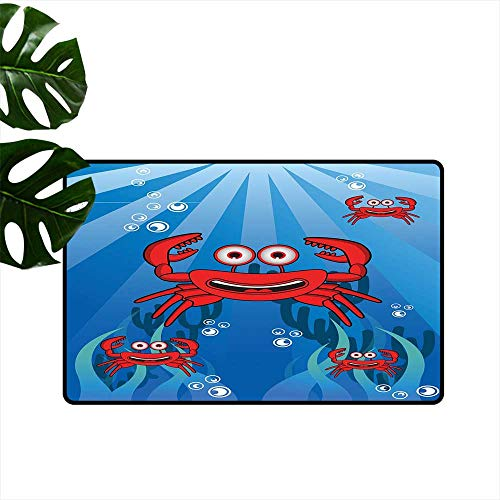 (Anzhutwelve Crabs,Floor mat A Group of Funny Crab Underwater with Smiling Happy Faces Bubbles Coral and Sun Rays Outdoor Rubber mats W 24
