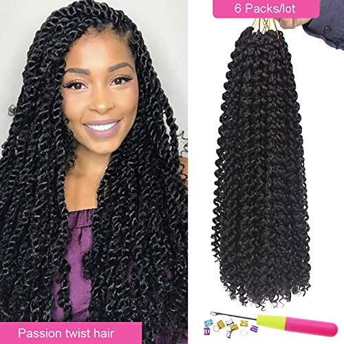 (Eerya Passion Twist Hair 18 Inch Bohemian Braids for Passion Twist Crochet Hair Ombre Brown Hot Water Setting Itch Free Synthetic Fiber Natural Passion Hair (6Packs 18Inch, 2# Dark Brown))