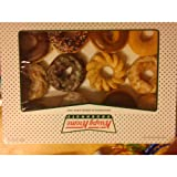 There are 12 different doughnuts from krispy Kreme, flavors do change out and may be different than pictured. The flavors could include sour cream, apple filled, rasberry filled, lemon filled kreme filled, custard filled, chocolate iced, choc...