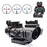 OTW Rifle Scope 4x32 Red-Green-Blue Triple Illuminated Rapid Range Reticle Scope With Top Fiber Optic Sight