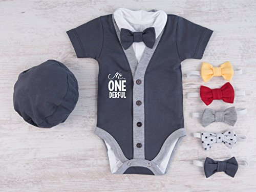 Mr. ONEderful Baby Boy Outfit, Set of 4 - Graphite Gray Cardigan, Bodysuit, Hat and Bow Tie