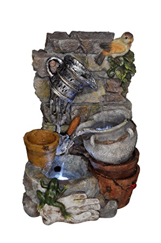 Standing Frog Fountain - Garden Tools Bird Frog Pots Waterfall Fountain with LED Lighting