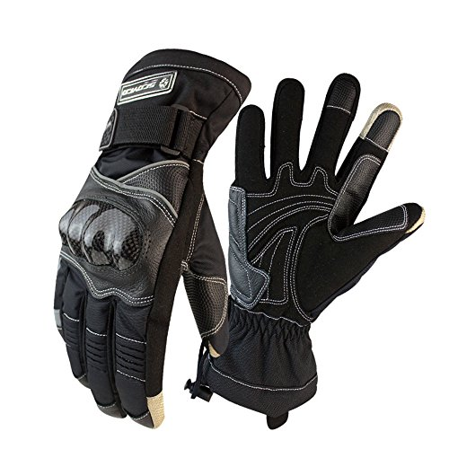 Scoyco MC15B-2 Thermal Waterproof Motorcycle Racing Gloves Off-road Motocross Protective Gear Carbon Fiber Shell (L, Black)