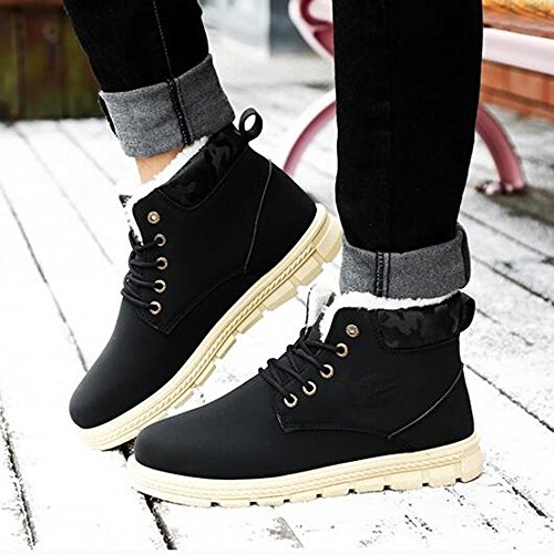 Men's Shoes Feifei Winter Keep Warm Thickening Waterproof High Help Martin Boots 3 Colors (Color : 01, Size : EU43/UK9/CN44)