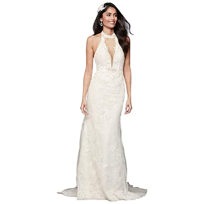 Plunge Neckline Lace Halter Wedding Dress Style Swg825 At