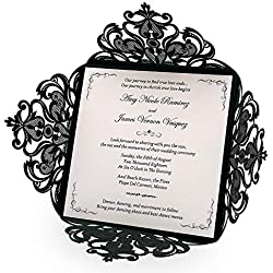 Doris Home Wedding Invitations Wedding invites Invitations Cards Wedding Invitations kit Square Black Laser-Cut Lace Flower Pattern Wedding Invitations Cards,50pcs,CW519_BL