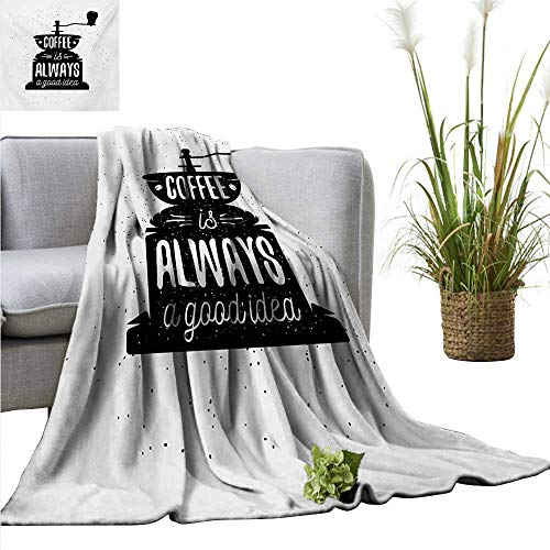 AndyTours Sand Free Beach Blanket,Quote,Coffee Maker Silhouette with Coffee is Always a Good Idea Grungy Typography,Black and White,Soft Summer Cooling Lightweight Bed Blanket - Andy Doll Maker