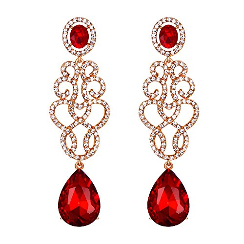 Gold Teardrop Chandelier Earrings - BriLove Wedding Bridal Dangle Earrings for Women Crystal Floral Filigree Teardrop Chandelier Earring Ruby Color Gold-Toned