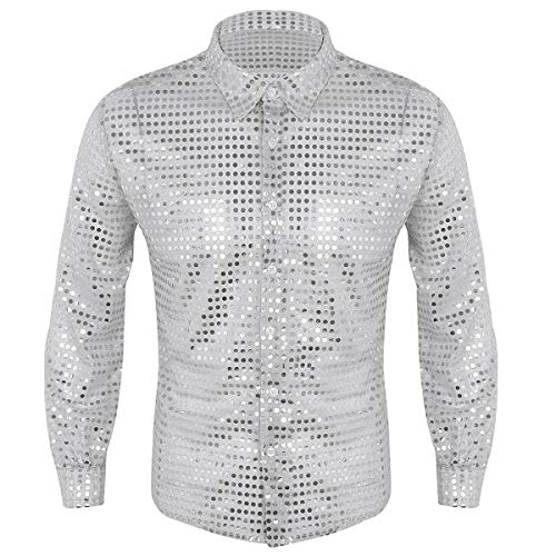 ACSUSS Men's Shiny Sequined Mesh Top Disco Dance Shirt Dude Costume Silver -