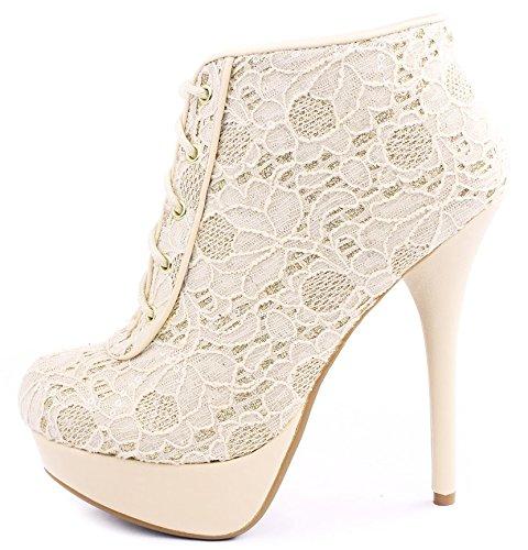 Covina Gehaakte Pailletten Glitter Accent Lace Up Platform Stiletto Booties Begkpu