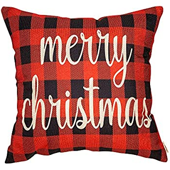 Fahrendom Red and Black Buffalo Checker Plaid Merry Christmas Winter Holiday Sign Gift Cotton Linen Home Decorative Throw Pillow Case Cushion Cover with Words for Sofa Couch 18 x 18 in