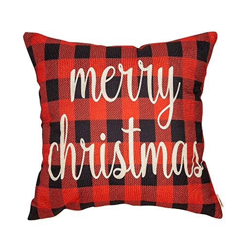 Fahrendom Red and Black Buffalo Checker Plaid Merry Christmas Winter Holiday Sign Gift Cotton Linen Home Decorative Throw Pillow Case Cushion Cover with Words for Sofa Couch 18 x 18 in ()