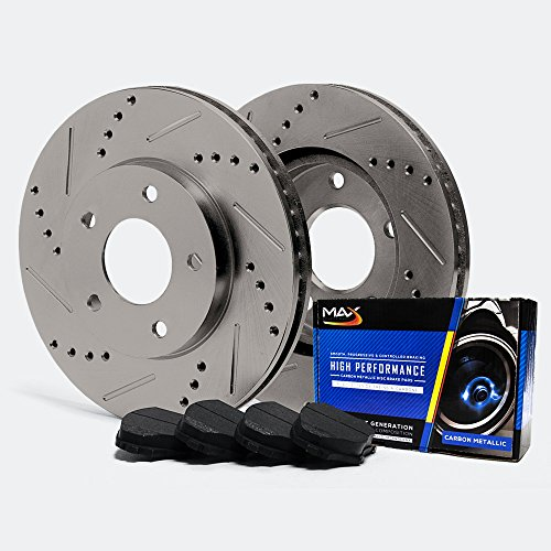Max TA021332 Rear Premium Slotted & Drilled Rotors and Carbon Metallic Pads Combo Brake Kit (Max Advanced Brakes 01 Mustang compare prices)