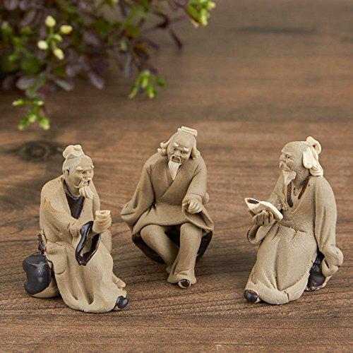 Factory Direct Craft Miniature Hand Made Asian Mudmen Figurines | 3 Figurines
