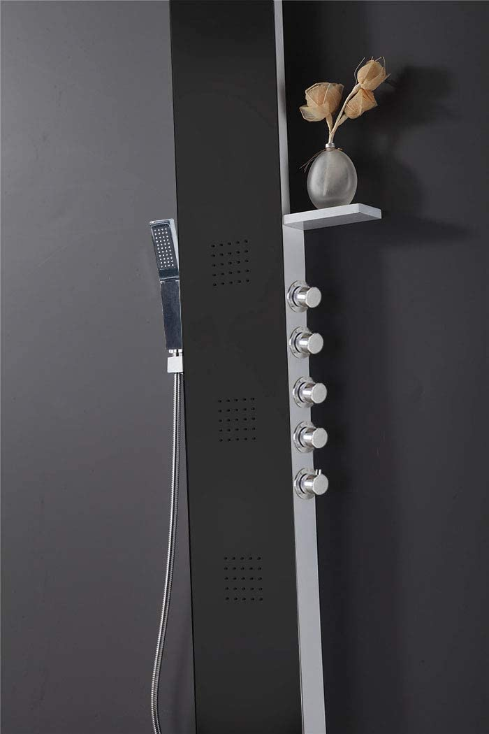 D-5506-HB 59 Rainfall Stainless Steel Black Finish Massage Multi-Function Bathroom Shower Panel Tower System with Body Jets /& Hand Shower