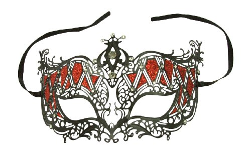 Beautiful Laser Cut Venetian Masquerade Mask Cosplay with Red Glitter - Made of High Quality Metal (Couple Dance Costumes)