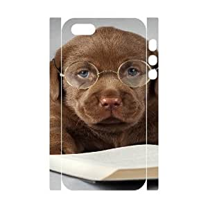 3D IPhone 5,5S Cases Funny Cute Labrador Dog Read Book, Dog & Cute Case for Iphone 5s for Women [White]