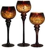 "Glass Hurricane Candle Holder ~ Set of 3 ~ Size: 12""H ; 14""H; 16""H ~ Mercury Chocolate ~ Gorgeous Attractive Décor Piece"