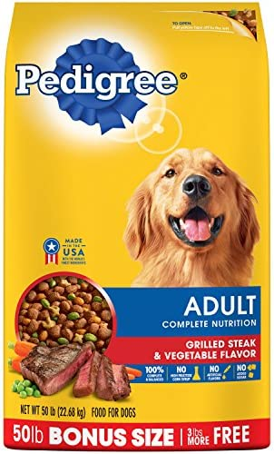 Pedigree Adult Grilled Steak and Vegetable Flavor Dry Dog Food 50 Pounds