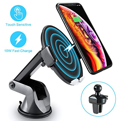 Wireless Car Charger with Touch Sensitive Clamp FLOVEME 10W Fast Wireless Car Charger Mount Phone Holder Qi Wireless Car Charger Compatible for iPhone Xs Max/XR/X/8/8Plus Samsung S9/S8/Note 8 and More
