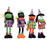 HORHIN Halloween Home Decoration,4PCS Doll Toys Stuffed Plush Toy Props Ornaments with Retractable Legs for Halloween Party Sofa Yard Playground Hotel Supermarket Bar Atmosphere Decor