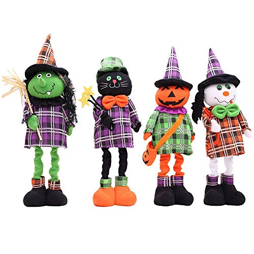 HORHIN Halloween Home Decoration,4PCS Doll Toys Stuffed Plush Toy Props Ornaments with Retractable Legs for Halloween Party Sofa Yard Playground Hotel Supermarket Bar Atmosphere Decor by HORHIN