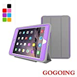 iPad mini 4 Case,GOGING Shock-Absorption / High Impact Resistant Heavy Duty Defender Full Body Protective Smart Cover Case for iPad Mini 4 (Gray-Purple)