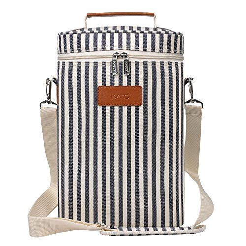 Insulated Wine Tote Carrier - 2 Bottle Travel Padded Wine Cooler Bag with Handle and Adjustable Shoulder Strap, Great Wine Lover Gift, Stripe