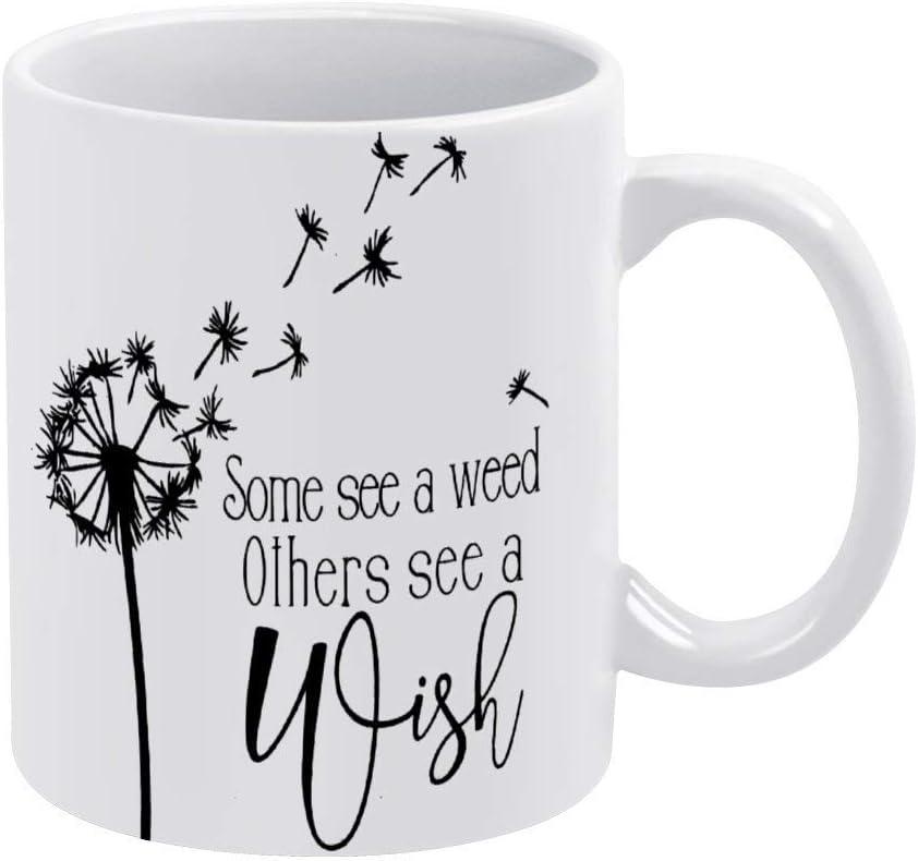N\A Wish Taza de café Blanca Taza Divertida de cerámica Taza de té con Forma de Diente de león Taza de té Navidad Cumpleaños Regalo de inauguración de la casa para Hombres Mujeres, Idea