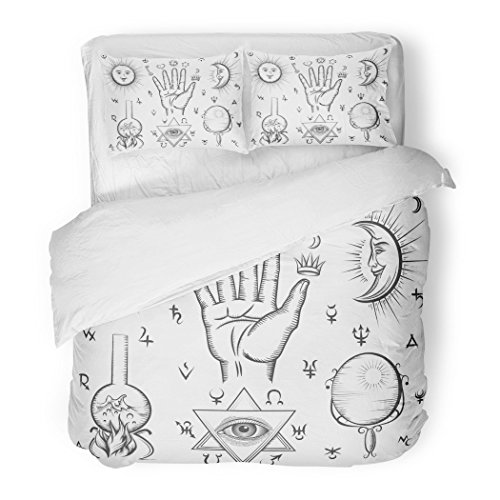 SanChic Duvet Cover Set Alchemy Spirituality Occultism Chemistry Magic Tattoo Symbols Esoteric Decorative Bedding Set with 2 Pillow Cases Full/Queen Size