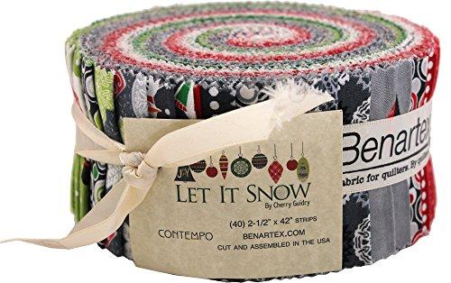 Fabric Christmas Merry (Cherry Guidry Let it Snow Pinwheel 40 2.5-inch Strips Jelly Roll Benartex)