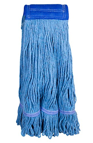 Supply Guru Commercial Mop Head, X-Large, Universal Headband, Blended Yarn, With Nylon Scrubbing Pad, 32 Ounce, 4-Ply, Blue.