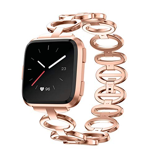 (Cywulin Stainless Steel Bands Compatible for Fitbit Versa, Chain Replacement Women Men Bracelet Adjustable Wristband Wrist Strap Solid Metal Accessories for Versa Lite Special Edition (Rose Gold))
