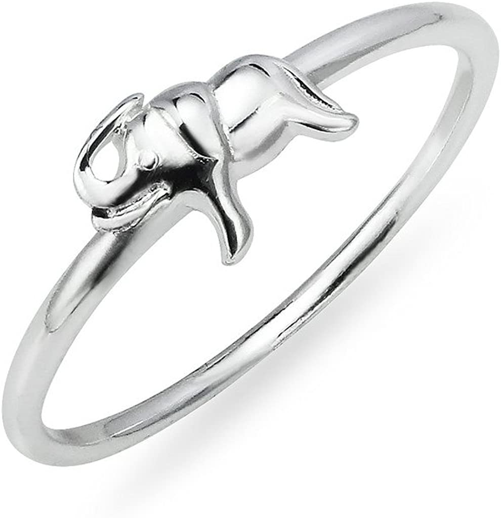 Sterling Silver Small Polished Elephant Ring Sizes 5 to 10 Animal Jewelry Men Women