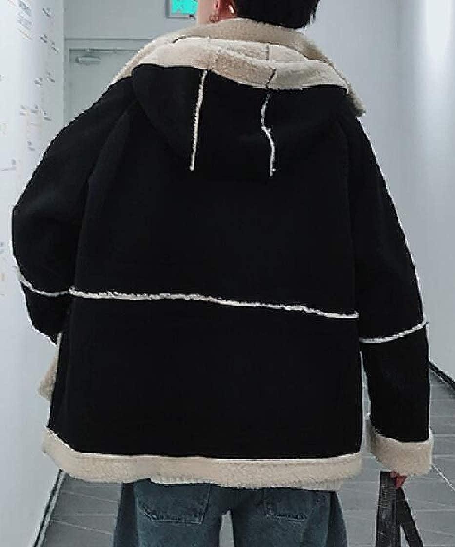 YYG Men Faux Lambwool Lined Thermal Hooded Plus Size Down Coat Jacket Overcoat