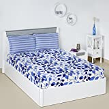 Solimo Leafy Spring 144 TC 100% Cotton Double Bedsheet with 2 Pillow Covers, Blue