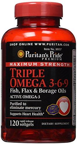 Puritan's Pride Maximum Strength Triple Omega 3-6-9 Fish, Flax & Borage Oils-120 Softgels ()