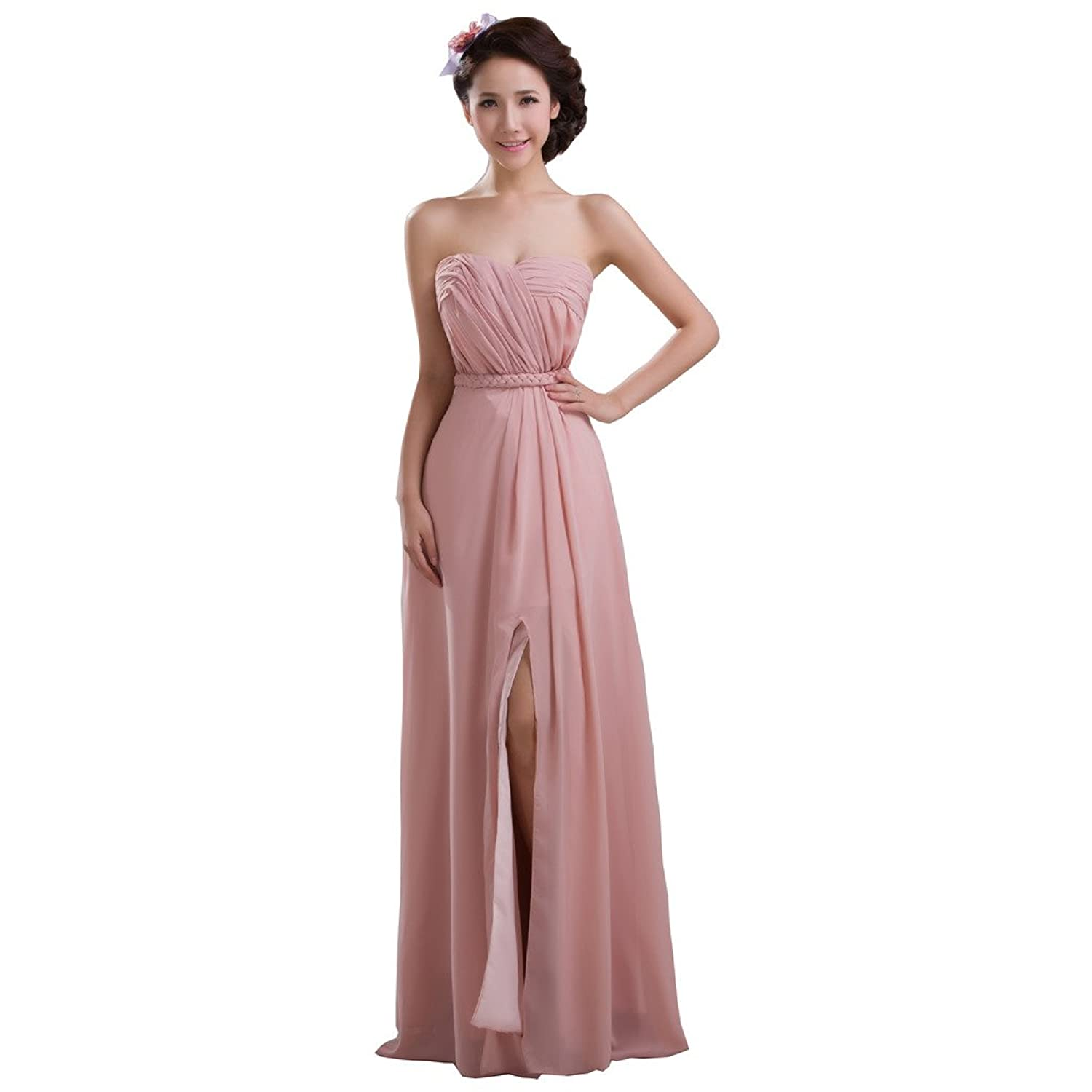 Vimans? Women's Long Pink Sweetheart Pleated Chiffon Evening Party Dresses