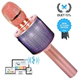 Wireless Bluetooth Karaoke Microphone for Kids Girls Boys Friends Gifts Duet Singing Recording Portable Handheld Karaoke Mic Machine LED Lights for iphone Andriod ipad PC -1Pcs (Rose Gold)