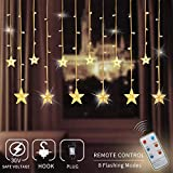 Zhuohao 12 Star Curtain Lights, Chiristmas Lights Outdoor with Remote Control, 108 LEDs Window Curtain String Lights with 8 Flashing Modes for Christmas, Wedding, Party, Indoor, Outdoor, Warm White For Sale