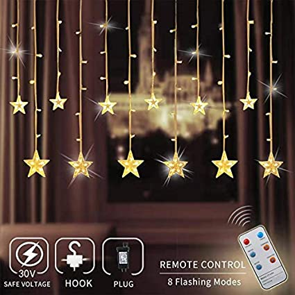 Zhuohao 12 Star Curtain Lights Chiristmas Lights Outdoor With Remote Control 108 Leds Window Curtain String Lights With 8 Flashing Modes For